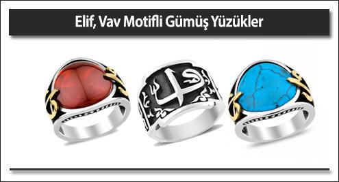 Elif Vav Motifli Gümüş Yüzükler